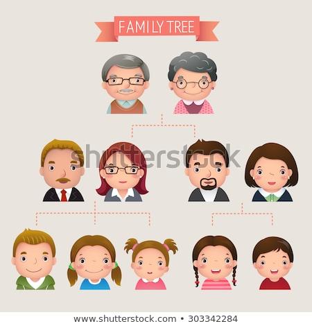 Rodziny drzewo twarze odizolowany biały miłości Zdjęcia stock © cteconsulting