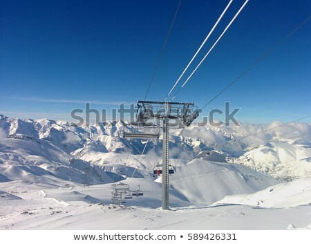 esquiador · asombroso · esquí · Resort · gran · angular · tiro - foto stock © gophoto