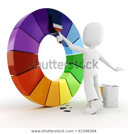 Stock photo: 3d man painting with roller brush