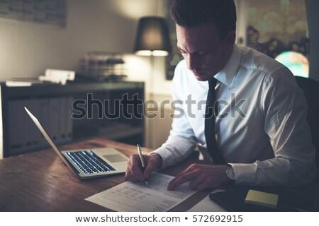 koncentrált · lezser · üzletember · gondolkodik · iroda · portré - stock fotó © rugdal