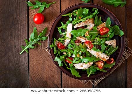 Karışık tavuk salatası plaka tablo gıda yeşil Stok fotoğraf © travelphotography