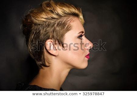 Fashion Blond Girl. Beauty Portrait Woman. White Short Hair. Man Stock photo © Victoria_Andreas