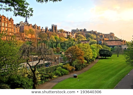 View on Edinburgh with Princess Street Gardens Stock photo © Hofmeester