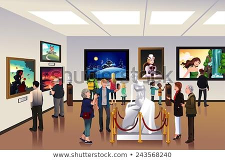 Nino dentro museo moderna sonriendo posando Foto stock © meinzahn