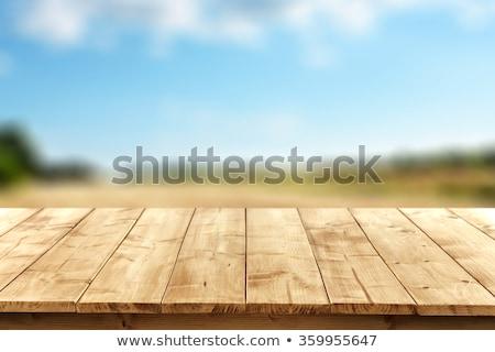 velho · mesa · de · madeira · borrão · luz · bokeh · vazio - foto stock © fotoaloja