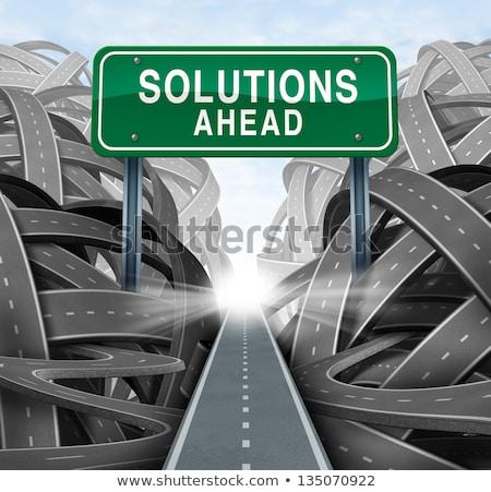 solutions · affaires · réponses · vert · signe · de · route - photo stock © stevanovicigor