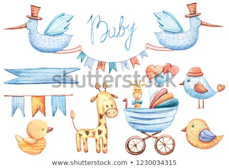 stork and baby carriage with its a girl stock photo © ustofre9