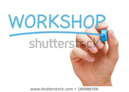 Eğitimi mavi işaretleyici el yazı şeffaf Stok fotoğraf © ivelin