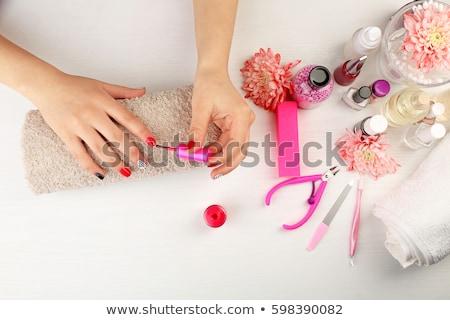 nagel · kunst · handen · witte · lichaam · verf - stockfoto © elnur
