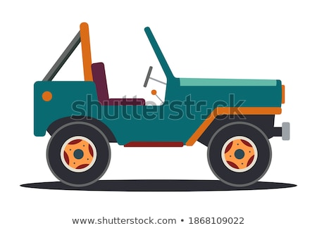 Green / Black Limousine Car Vehicle Cartoon - Vector Illustratio Stock photo © Akhilesh