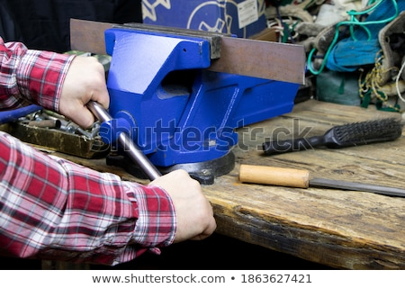 vintage wooden vise stock photo © reddaxluma