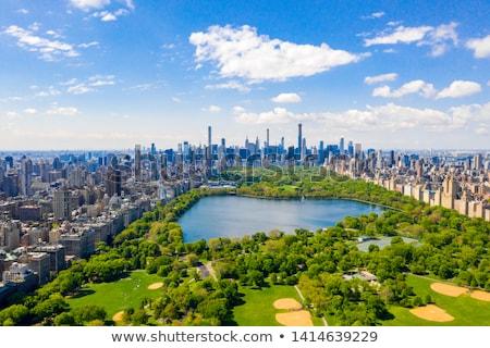 セントラル·パーク ニューヨーク市 マンハッタン 木 高層ビル 湖 ストックフォト © meinzahn