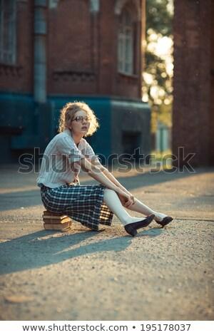 portre · çılgın · öğrenci · kız · gözlük · kitaplar - stok fotoğraf © vlad_star