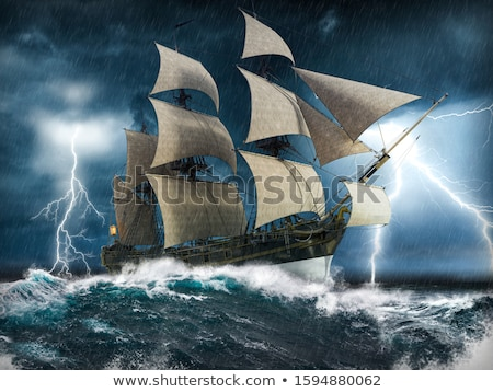 Zeilschip storm klassiek licht reusachtig wolken Stockfoto © THP