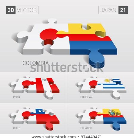 Colombia Japán zászlók puzzle izolált fehér Stock fotó © Istanbul2009