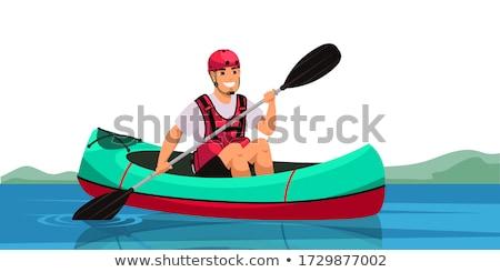 snel · zee · kajak · senior · mannelijke · opleiding - stockfoto © pixelsaway