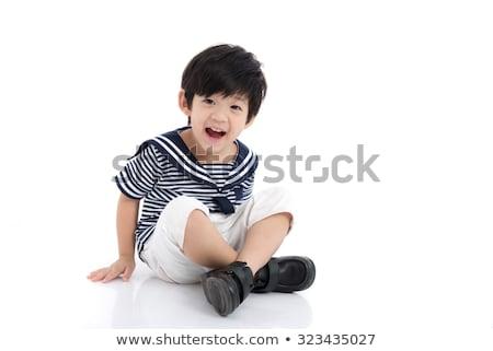 kicsi · fiú · játszik · tengerpart · játékok · színes - stock fotó © d13