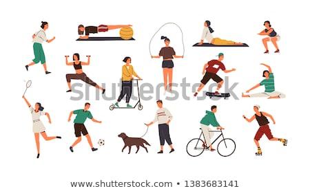 genç · kadın · egzersiz · top · mutlu · spor · salonu - stok fotoğraf © stockyimages