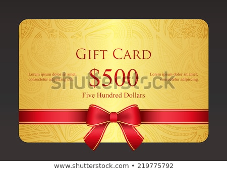 red gift card with golden swirls and ribbon stock photo © liliwhite