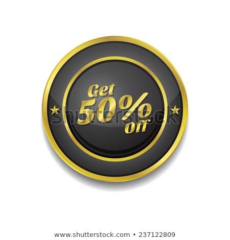 Get 50 Percent Gold Vector Icon Button Stock photo © rizwanali3d