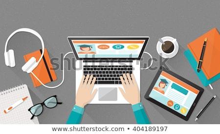 タブレット デスク インターネット コーヒー 学校 ストックフォト © Zerbor