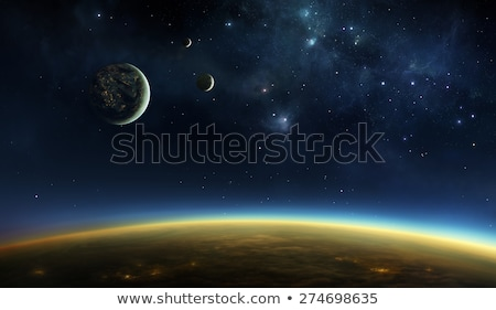 ночь футуристический город три планеты звезды Сток-фото © ankarb