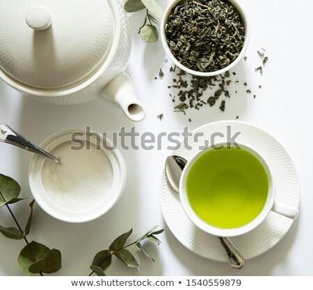 Chá medicinal folha verde instagram cor estilo Foto stock © dariazu