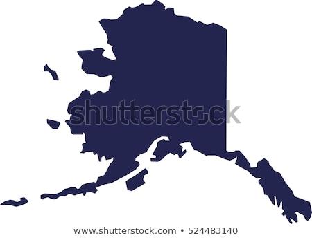 Mapa Alasca ícones coração bandeira alvo Foto stock © retrostar