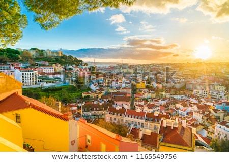 légifelvétel · színes · épületek · európai · város · naplemente - stock fotó © joyr