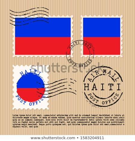 Kare etiket bayrak Haiti yalıtılmış beyaz Stok fotoğraf © MikhailMishchenko