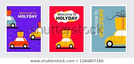 coleção · desenho · animado · carro · apresentar · caixa - foto stock © ulyankin