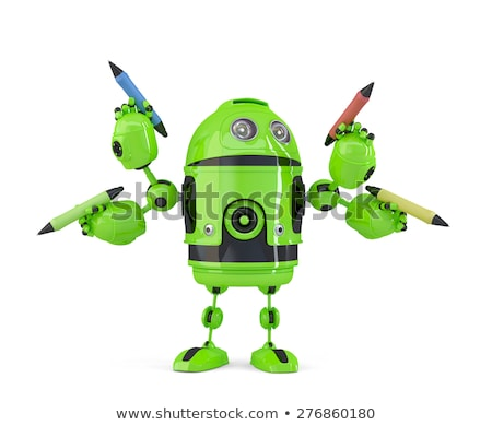 Four-armed 3d robot with pencils. Multitasking concept. Isolated. Contains clipping path. Stock photo © Kirill_M
