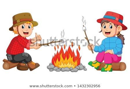 Gyerekek máglya illusztráció család mosoly tűz Stock fotó © adrenalina