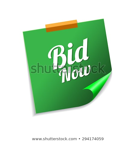 Bid Now Green Sticky Notes Vector Icon Design Stock photo © rizwanali3d