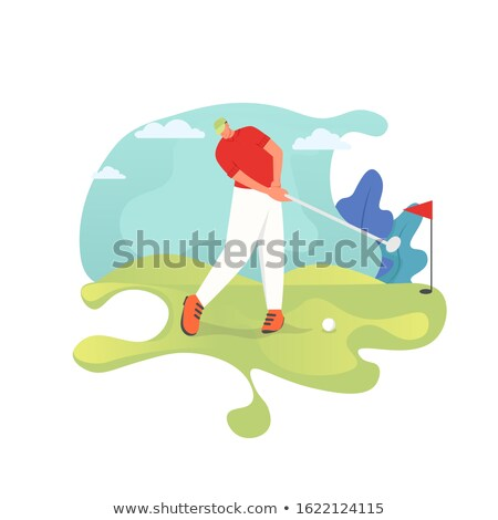 zijaanzicht · golfer · witte · sport · spelen · drive - stockfoto © patrimonio