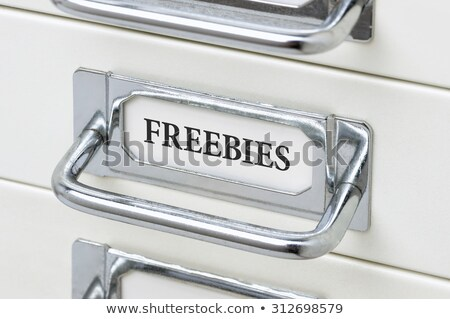 Foto stock: A Drawer Cabinet With The Label Freebies