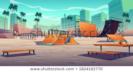 Zona · de · juegos · parque · árbol · ninos · feliz · deporte - foto stock © speedfighter