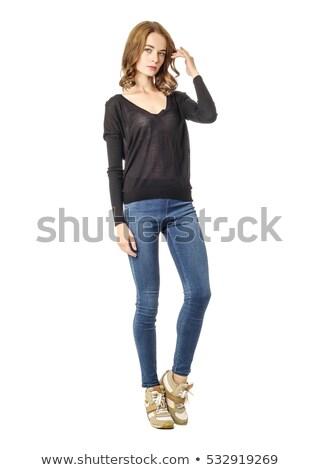 Foto stock: Atraente · jovem · jeans · belo · mulher · jovem