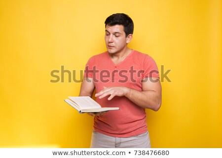 barbudo · homem · leitura · livro · isolado · cinza - foto stock © deandrobot