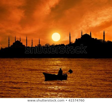 mecset · alkonyat · Isztambul · égbolt · épület · város - stock fotó © elxeneize