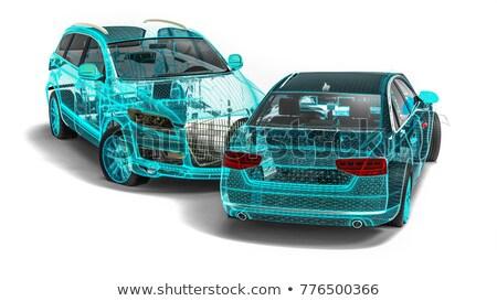 Tel kafes kaza araba yalıtılmış model ışıklar Stok fotoğraf © cla78