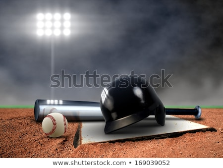 Baseball field, ball and accessories Stock photo © gladcov