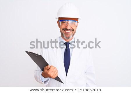 supérieurs · homme · ingénieur · boîte · à · outils · casque - photo stock © feedough