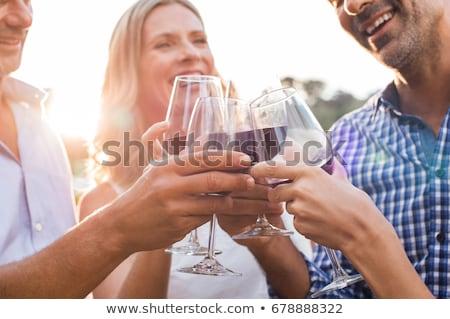 idős · pár · élvezi · vörösbor · kint · nő · férfi - stock fotó © kzenon