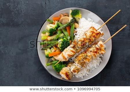 Arroz a la parrilla calabacín salsa de soja alimentos cena Foto stock © Digifoodstock