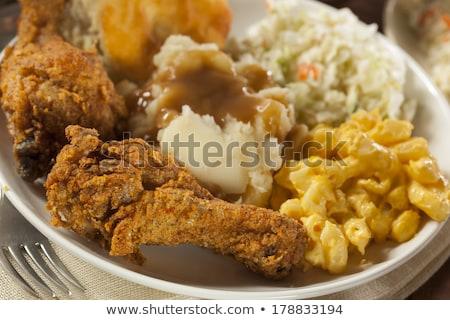 ストックフォト: 辛い · 鶏 · ジャガイモ · 脚 · プレート · 肉