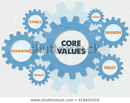 Core Values And Business Conception Words In Grunge Flat Design Foto stock © marinini