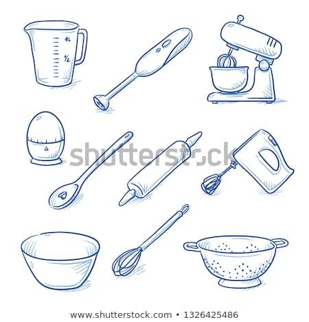 cocina · mano · mezclador · icono · gris · verde - foto stock © angelp