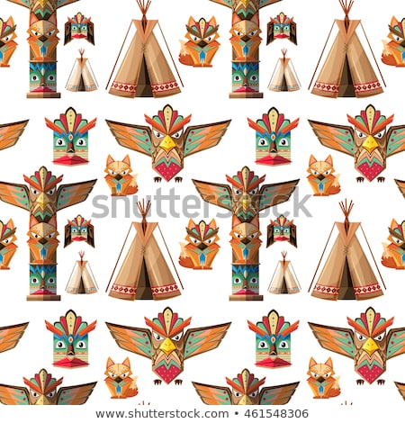 Seamless background with totem poles  Stock photo © bluering