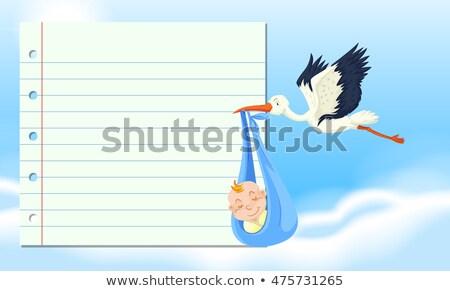 baba · házhozszállítás · gólya · hordoz · gyermek · madár - stock fotó © bluering